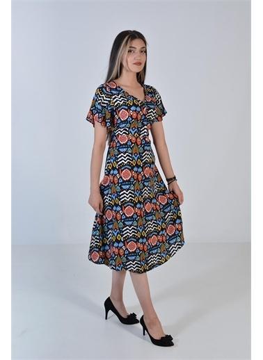 Zeren Kadın Siyah V Yaka Bel Sıkma Elbise Siyah